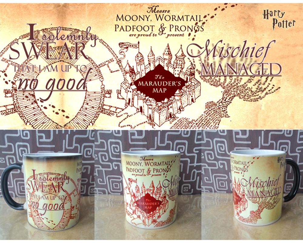 Light Magic Harry Potter mug mischief mangaged Marauders Map color chaning mugs cup Tea coffee mug cup for friend gift(China (Mainland))