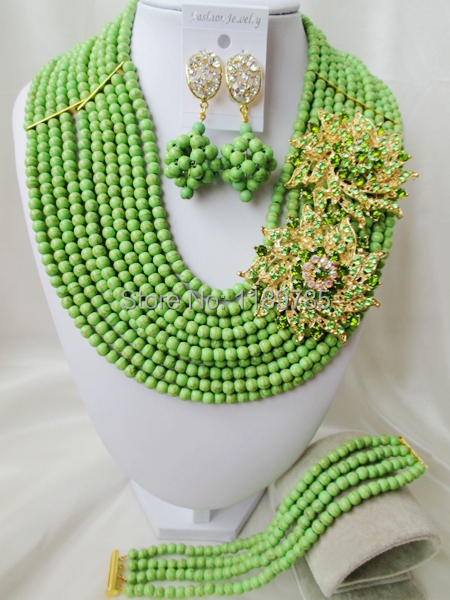 Fashion Nigerian African Wedding Beads Jewelry Set , Stone Necklace Bracelet Earrings Set A-8304<br><br>Aliexpress