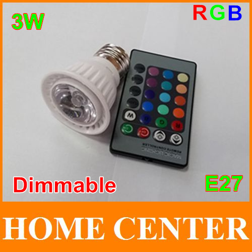 New 3W E27 Dimmable RGB LED Bulb Lamp led Spot light with Remote Control with tracking number(China (Mainland))