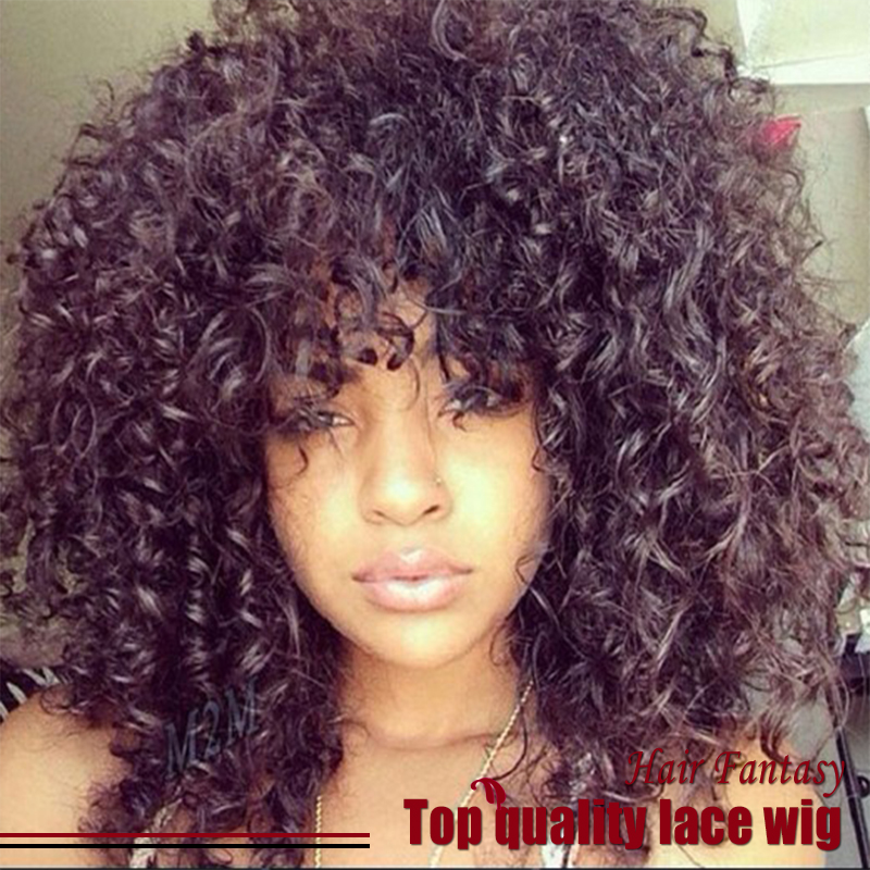 Rihana Black Afro Kinky Wig Short Curly Hair With Bangs Heat Resistant Synthetic Lace Front Glueless Kinky Curly Wigs For Women