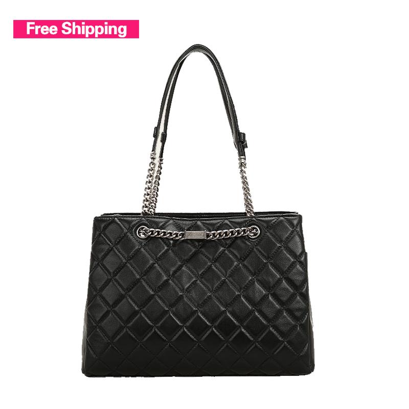 2015 New Fashion Diamond lattice Sheepskin Handbags One shoulder Chain Genuine leather Bag Small Sachet Diagonal messenger bags