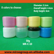 Free Ship 40PCS 50ml 50g PP white colored face cream jars, plastic empty cosmetic containers, 50 ml cosmetic sample containers(China (Mainland))