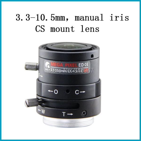 3.3-10.5mm 1/2.5 inch F1.4 manual iris cctv lens, public safety security camera lens 3mp, cs mount - Wellcam Lens store