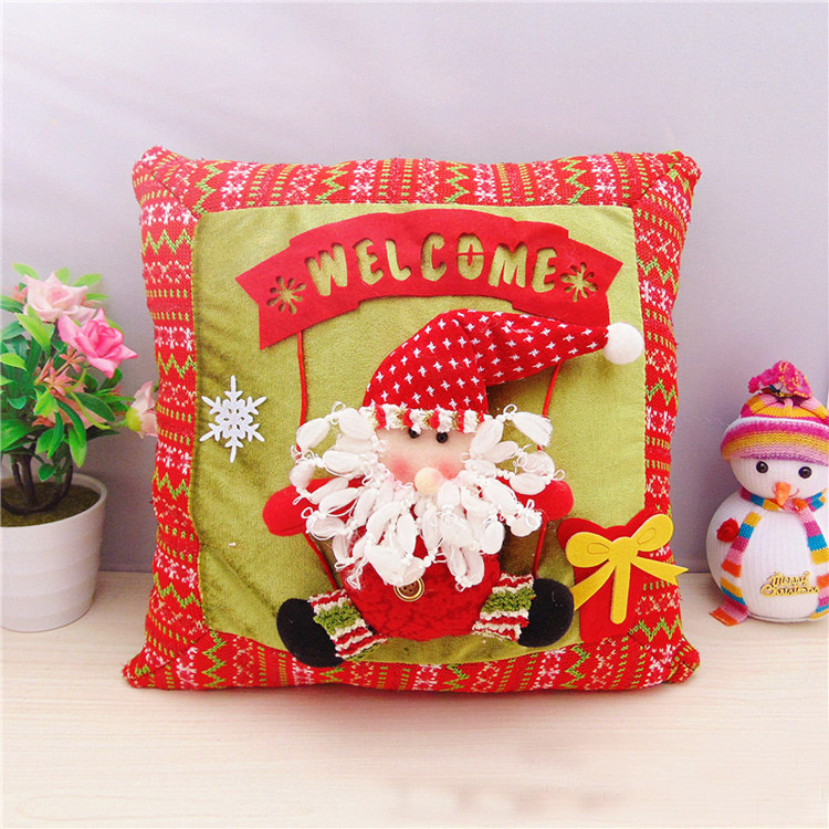 1pc/lot christmas decoration for home santa claus cushion snowman pillow for hotel car decor christmas ornament(China (Mainland))
