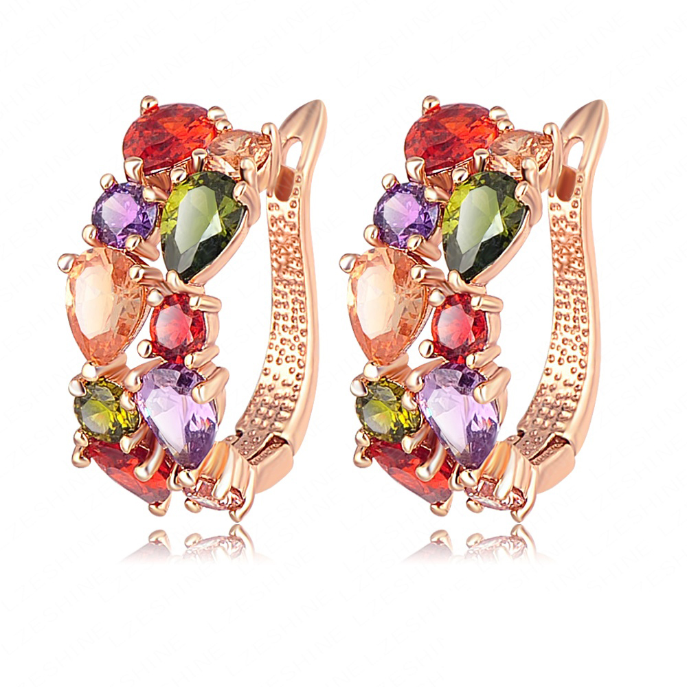 Multicolor Earrings Real 18K Gold /Rose Gold Plate Micro Inlay AAA Cubic Zirconia Stud Earrings For Women CER0143(China (Mainland))