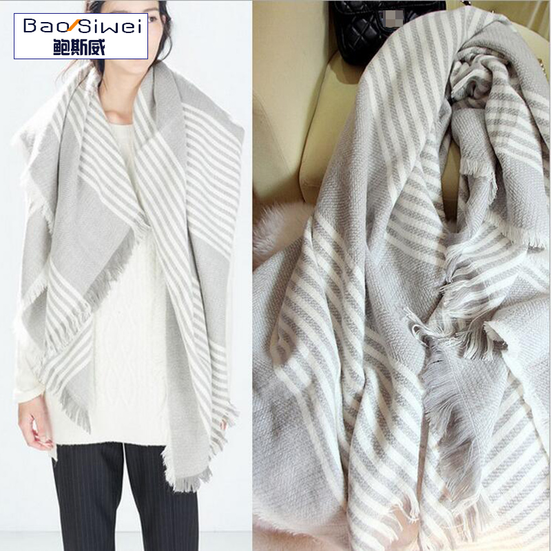 2016 New Fashion Stole long Plaid Poncho Pashmina scarf High Neck Striped Tasseled Sweater warm Shawl Woman Winter scarves(China (Mainland))