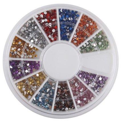1.5mm 180Nail Art Set Rhinestone Glitter Tip Mix Gems Buyin Coins, Dropshipping Q17
