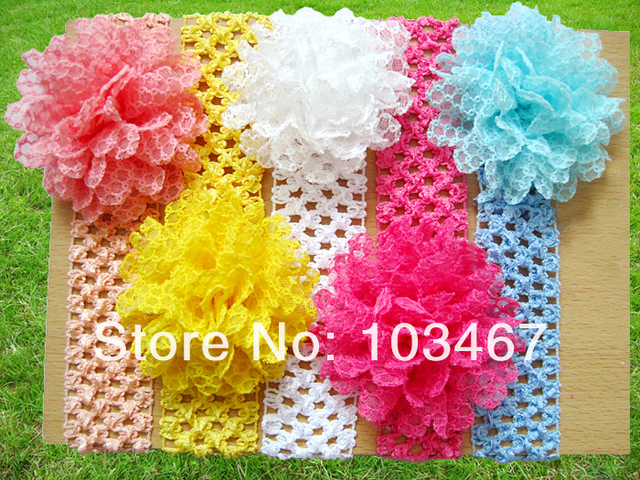 "Min order is $10(mix order) baby Elastic Headbands,soft stetch headband with 4""chiffon silk flowers,free shipping"