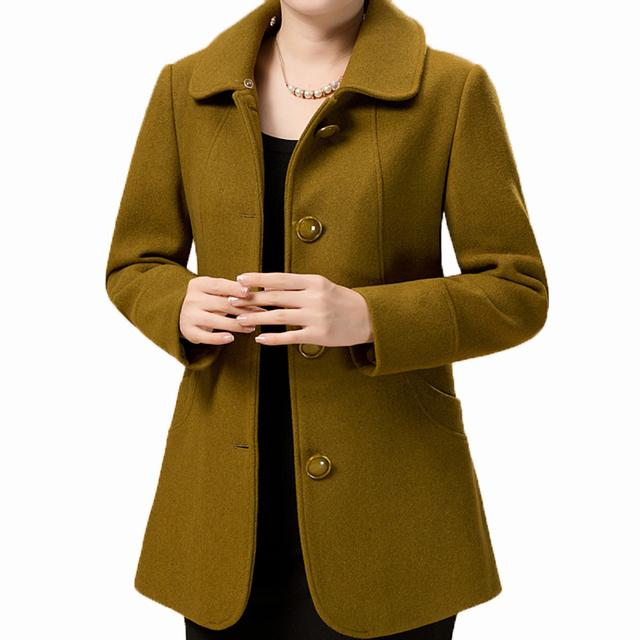 Новый 2016 Осень Зима женщины Пальто Тонкий отложным воротником шерстяные пальто женские куртки женские куртки мех воротник KL252