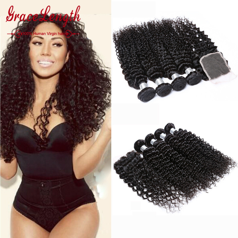 7a Virgin Brazilian Deep Wave With Closure Queen Brazilian Virgin Hair With Closure Curly 4 Hair Bundles With Lace Closures