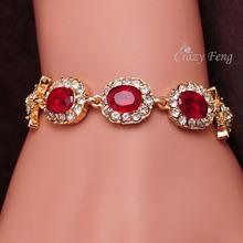 Fashion Valentine Day Gift Shiny Zirconia Sapphire Jewelry Gold Plated Geometric Oval Vintage Charm Bracelets Women pulseras(China (Mainland))