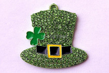 High Recommend 40x36MM 10pcs AAA Quality Easter green hat with clover Rhinestone Pendants  for Chunky Beads Necklace Jewelry(China (Mainland))