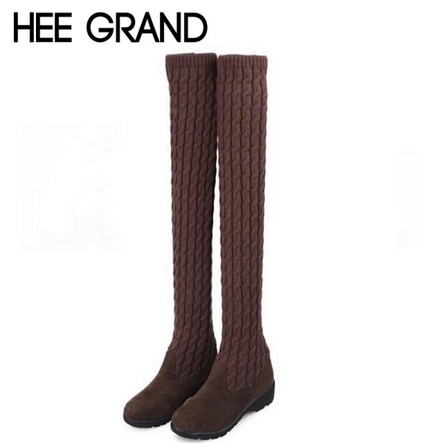 Горячая женщина колен-высокие сапоги мода шерстяные 3 стилей скольжения на твердые ...