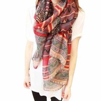 5pack Red Vintage Ethnic Style Printed Wave and Stripe Pattern Design Women's Scarf