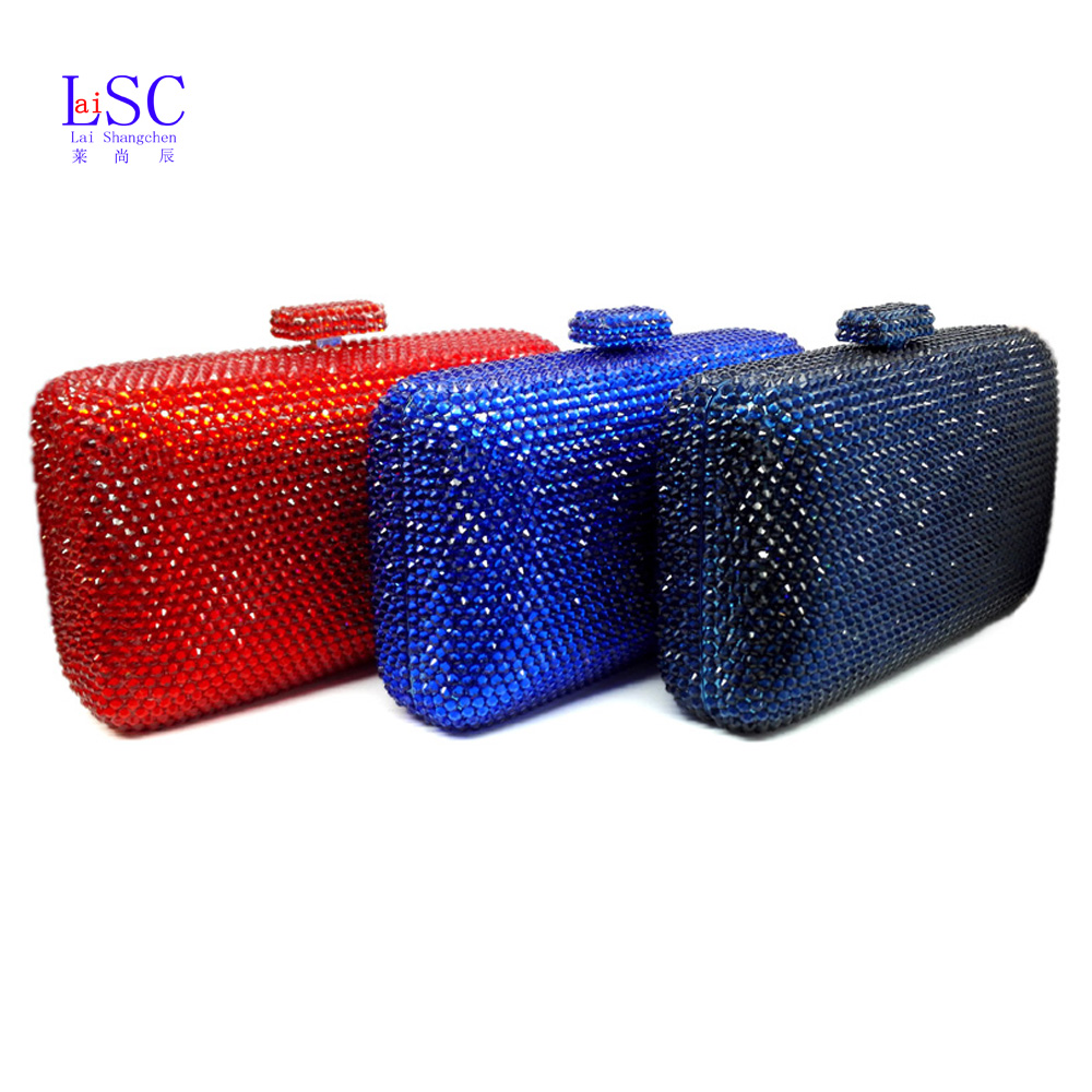 LaiSC wholesale Luxury navy blue evening handbag Red crystal Clutch bag women evening bag Wedding purse bride pochette bag SC042(China (Mainland))
