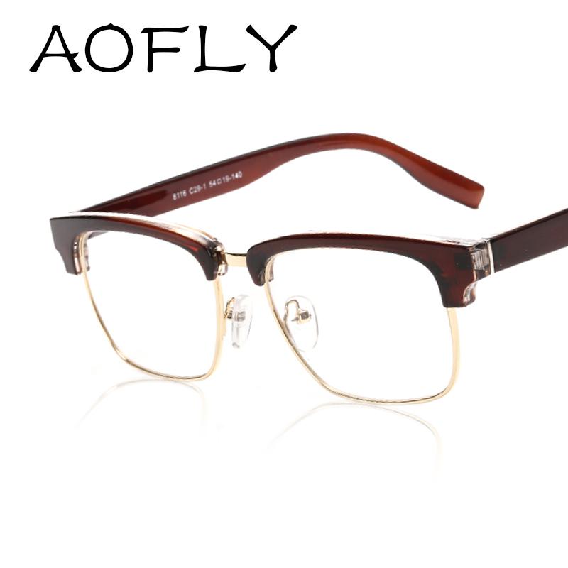 AOFLY Medio Capítulo Gafas Vintage Marcos de Anteojos de Marca de Moda Unisex gafas Marcos para