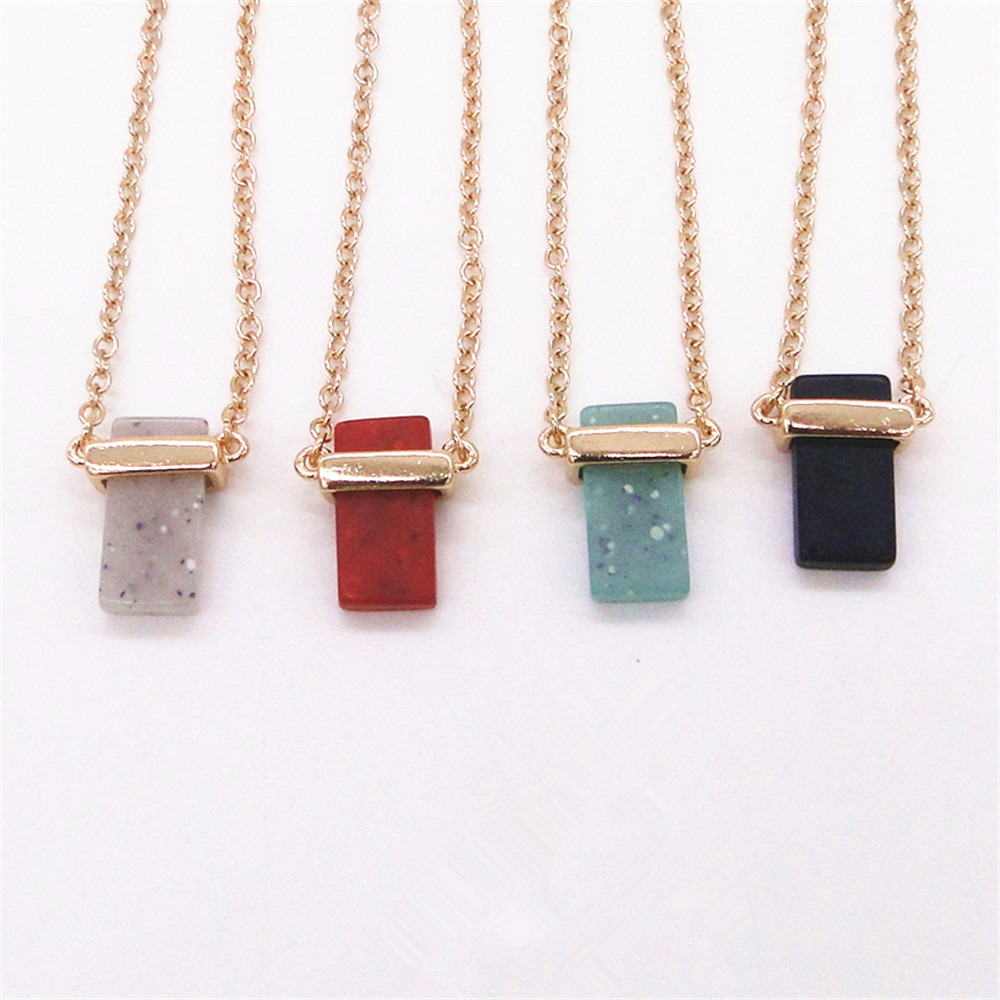 2016 foreign trade jewelry wholesale fashion simple red/blue/black/white square natural stone pendant necklace sweater chain(China (Mainland))