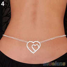 NEW SEXY SILVER RHINESTONE BELLY WAIST LOWER BACK CHAIN 1HLS