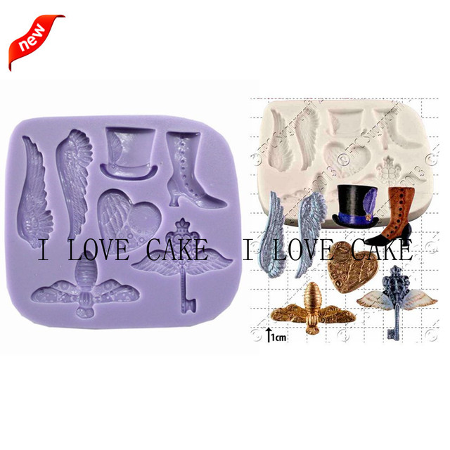 Fa836key Wing Topper Shoe Steampunk Fantast Kitchen Accessories Cupcake Silicone Cake Mold