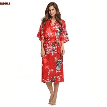 Sexy Bathrobe Silk Long Kimono Satin Robe Animal V-Neck 3/4 Sleeves Women Night Sexy Robes Night Grow Robe Longue Femme 18ZYQ(China (Mainland))
