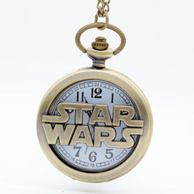 Fashion Bronze STAR WARS Sci-fi Science fiction movies Quartz Pocket Watch Analog Pendant Necklace Mens Womens Watches Gift(China (Mainland))