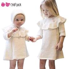Buy 1-4Y Kids Girls Autumn Dress 2016 Fashion Elegant White Long Sleeve Knit Sweater Dresses Hat Knitwear Children Clothing for $13.99 in AliExpress store
