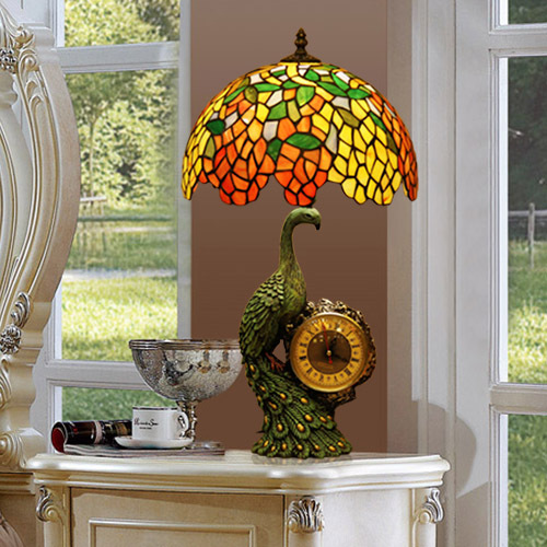Tiffany style stained glass table lamp with peacock clock(China (Mainland))