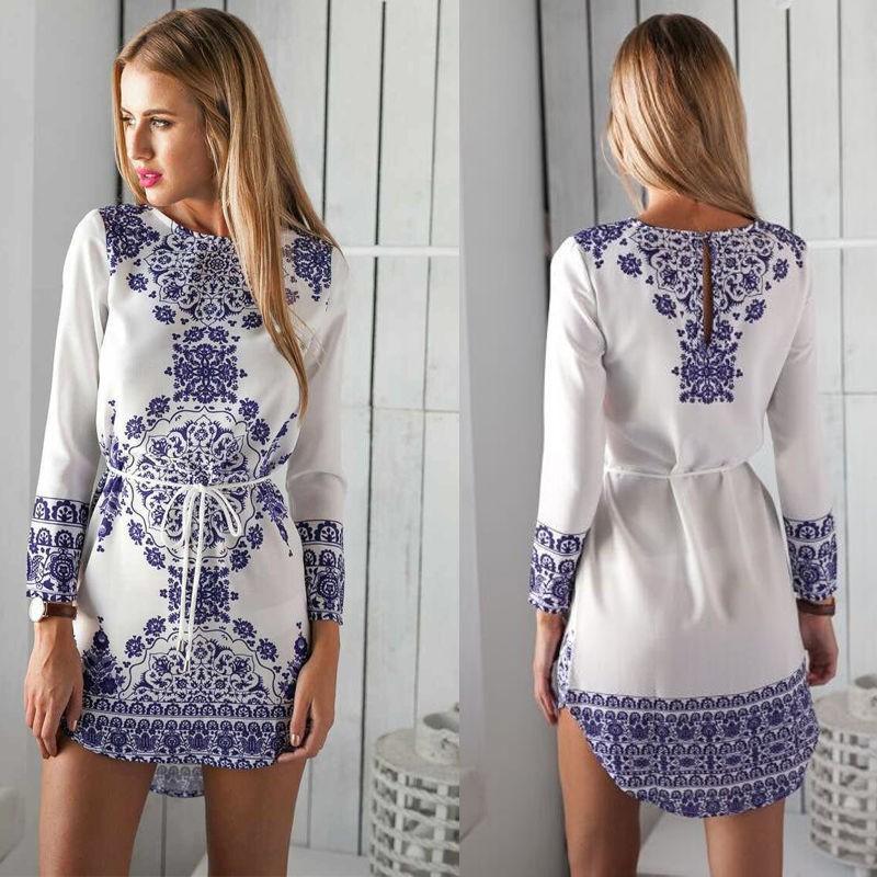 2016 summer woman dress Europe original single product digital printing blue and white porcelain dress long-sleeved dress(China (Mainland))