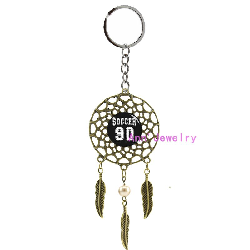 803-soccer keychain soccer 90 dream catcher men jewelry, soccer ball feather custom number, indian sports bar, father day gift(China (Mainland))