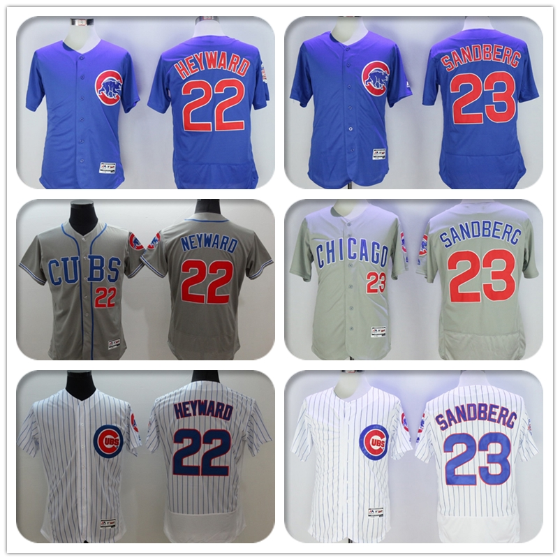 New Fabric Mens Flexbase Version #22 Jason Heyward #23 Ryne Sandberg Jersey Color Gray White Blue Throwback Jerseys(China (Mainland))
