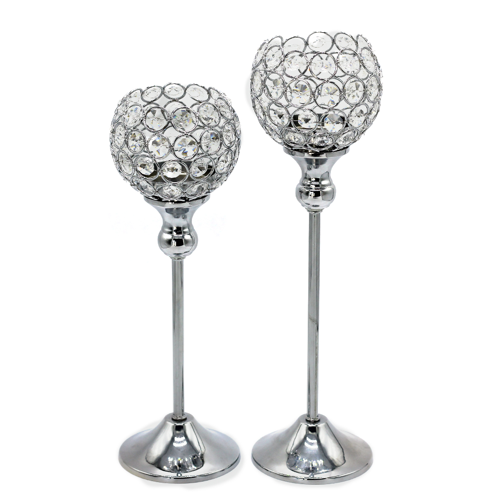 New Arrival modern crystal candlestick Metal Silver Plated Candle holder Home wedding decoration candelabrum sets(China (Mainland))