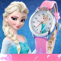2016 Presale New Cartoon Children Watch Princess Elsa Anna Watches Fashion Girl Kids Student Cute Leather