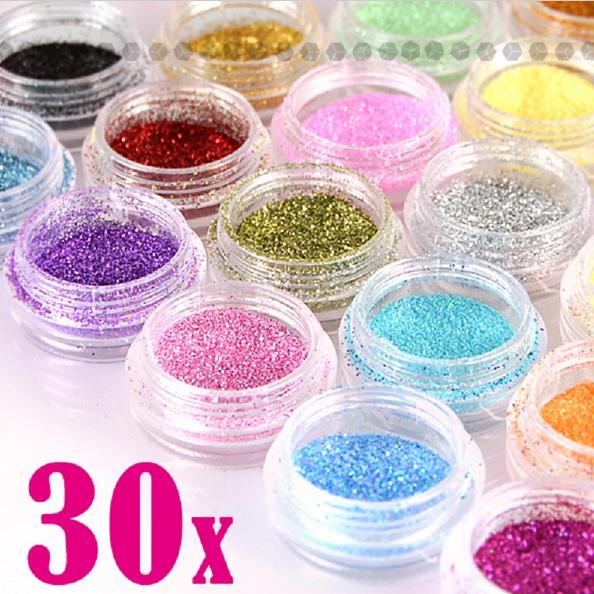 30 Pcs Assorted Colors Nail Art Fine Glitter Powder Dust UV Gel Polish Acrylic Nail Tips Tools