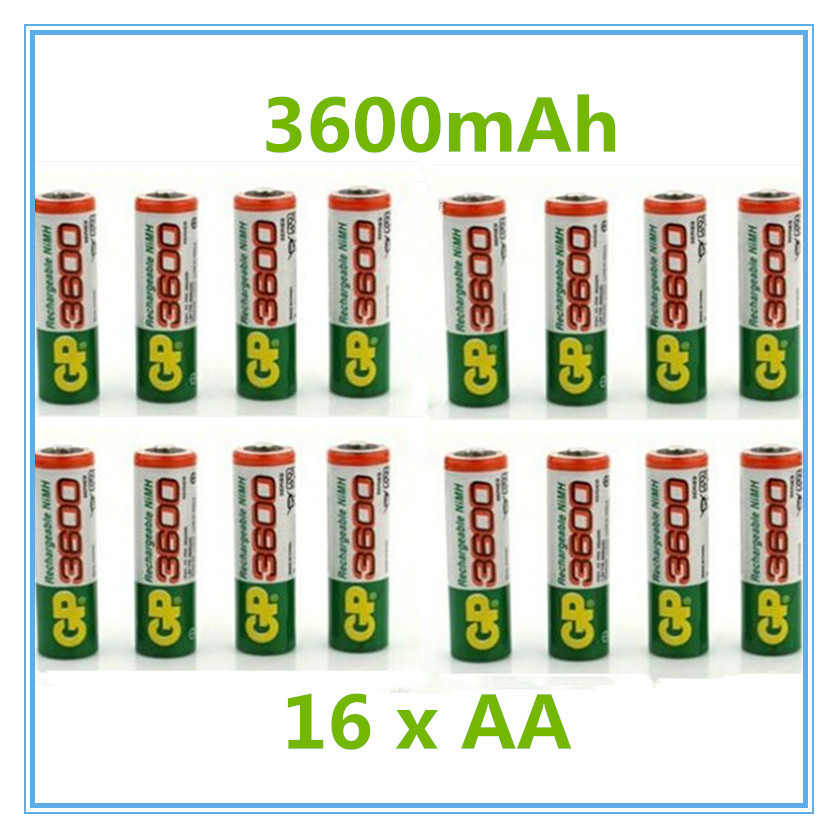 16pcs/lot original GP aa rechargeable battery 3600mah / gp 3600 / / rechargeable battery gp batteries 1.2V Ni-MH + Free shipping(China (Mainland))