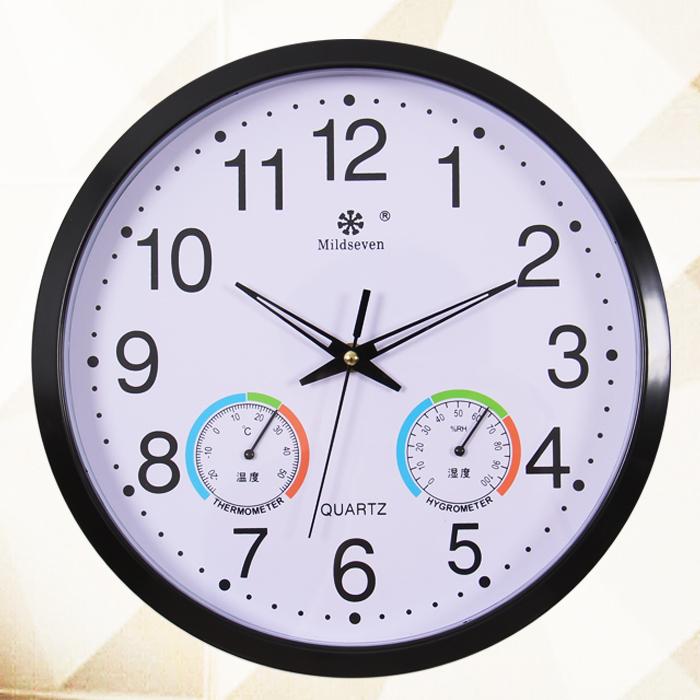 wall clock brief clocks e quartz silent watch temperature and humidity