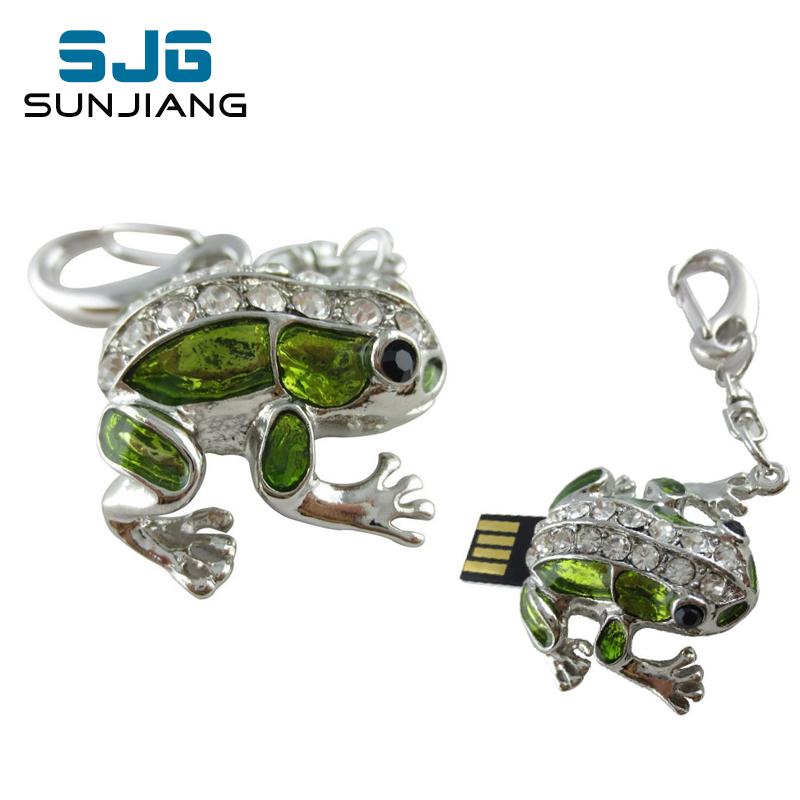 Diamond Cute Frog USB Flash Drive 64GB 32GB Diamond Pen Drive 16GB 8GB 4GB Pendrive Memory Sticj USB 2.0 U Disk Free Shipping(China (Mainland))