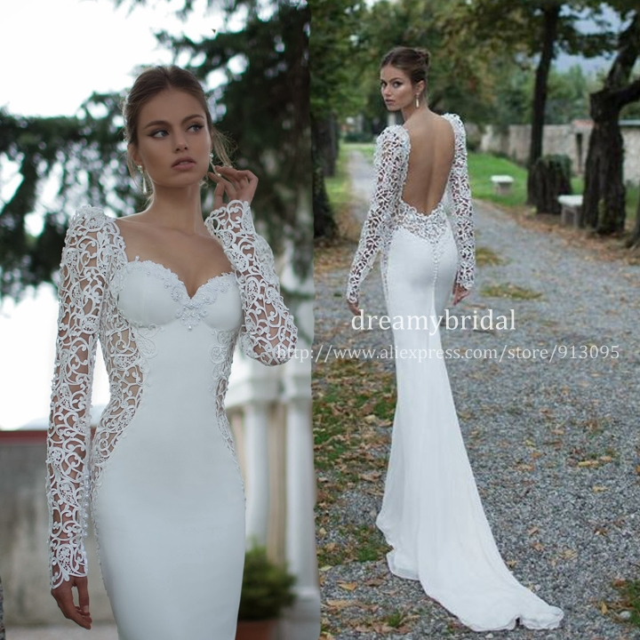 Vestidos de noiva 2014 sexy open back long sleeves sheer for Sexy open back wedding dress