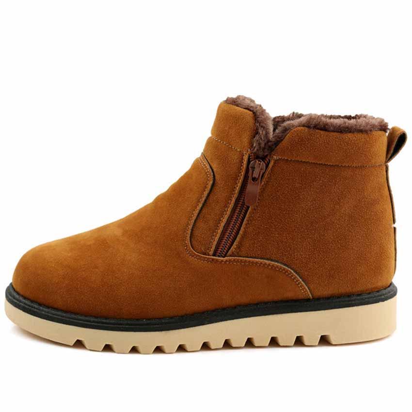 2016 Warm Winter Plush Men Boots Fashion Suede Leather Side Zipper Casual Men's Short Snow Boots