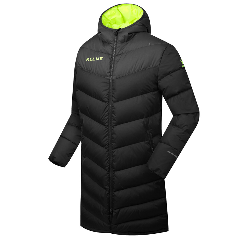 Wholesale Kelme K090 Men Long Hooded Winter Keep Warm Coat Training Sport Football Down Jacket Black(China (Mainland))