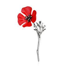 Lnrrabc Gun Hitam Bisnis Setelan Wanita Boutonniere Pakaian Tinggi-Akhir Pria Sweter Bunga Poppy Merah Antik Emas Bros Paduan(China)