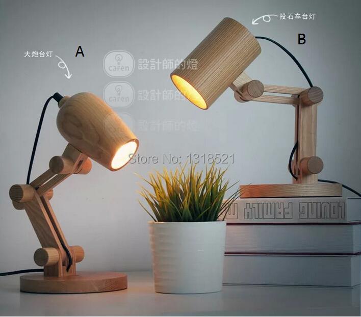 Newest Design Wood Table Lamps Desk Light Living Room Bedroom Decor 110 240v Solid Wood Table