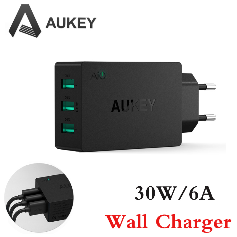 Aukey 6A/30W Multil USB Travel Wall Charger Adapter With AlPower Tech 3 Ports Foldable EU Plug for iPhone 6S/6S Plus Galaxy S6(China (Mainland))