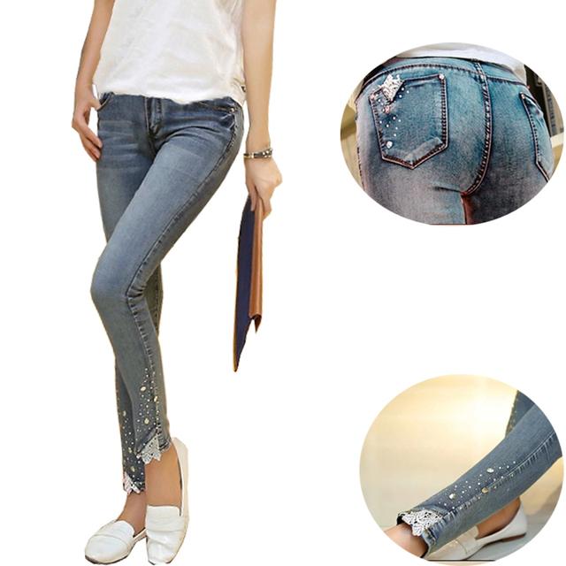 Джинсы беременным осень мода стразами живот брюки-беременные одежда большой джинсовые ...
