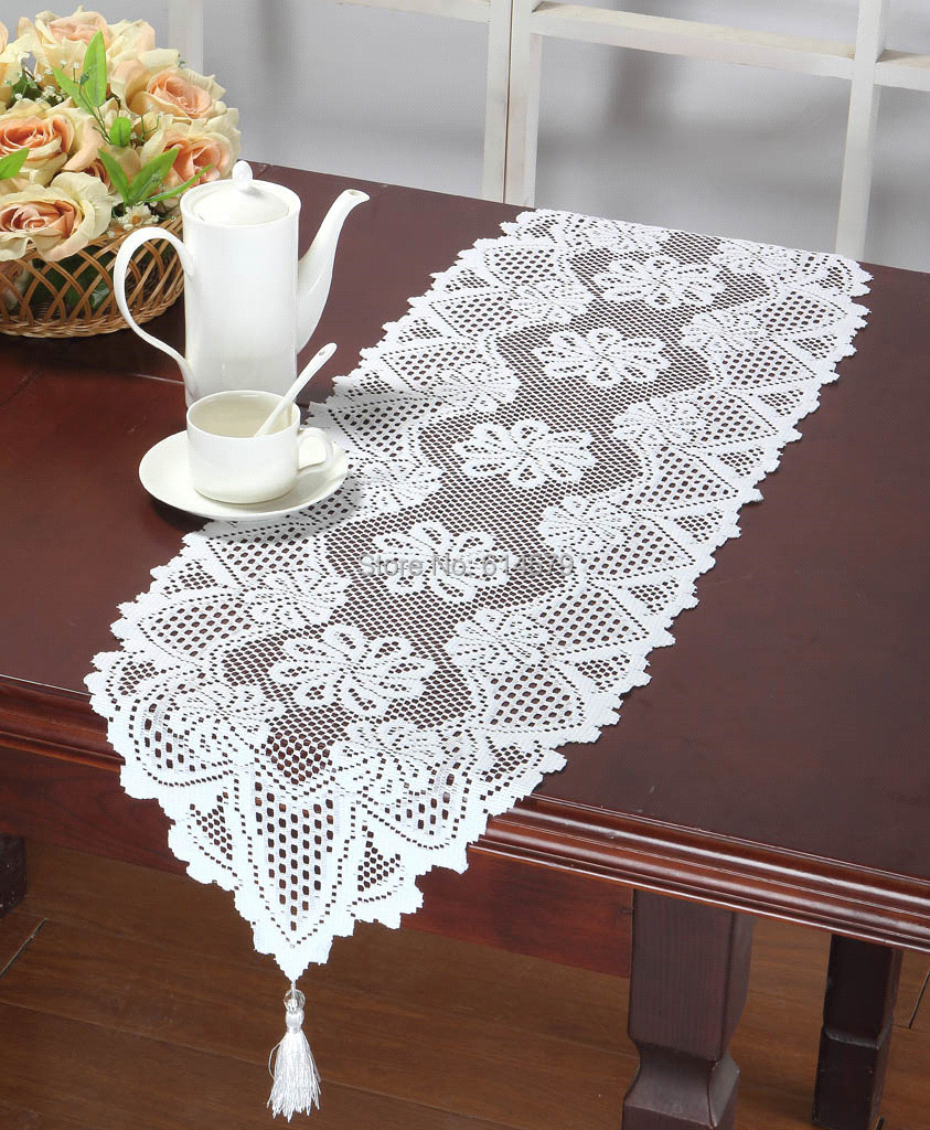 Christmas Lace Table Runner Wedding Decoration Crochet Table Runners Tablecloth Runner 33x114cm