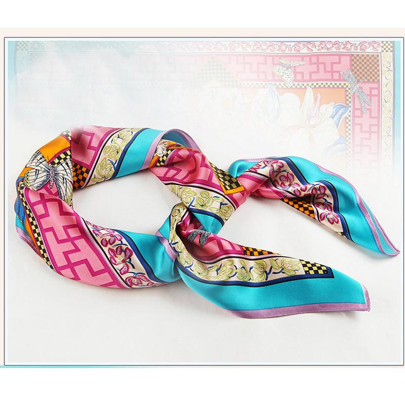 High Quality satin scarf square plain twill silk scarves Blue Fashion Print Women Shawls luxury brand Hot Head Bandana tn2-5(China (Mainland))