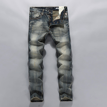 Newly  brand design mens jeans slim straight printed biker jeans for men plus size 38 36 high quality mens jeans 617(China (Mainland))