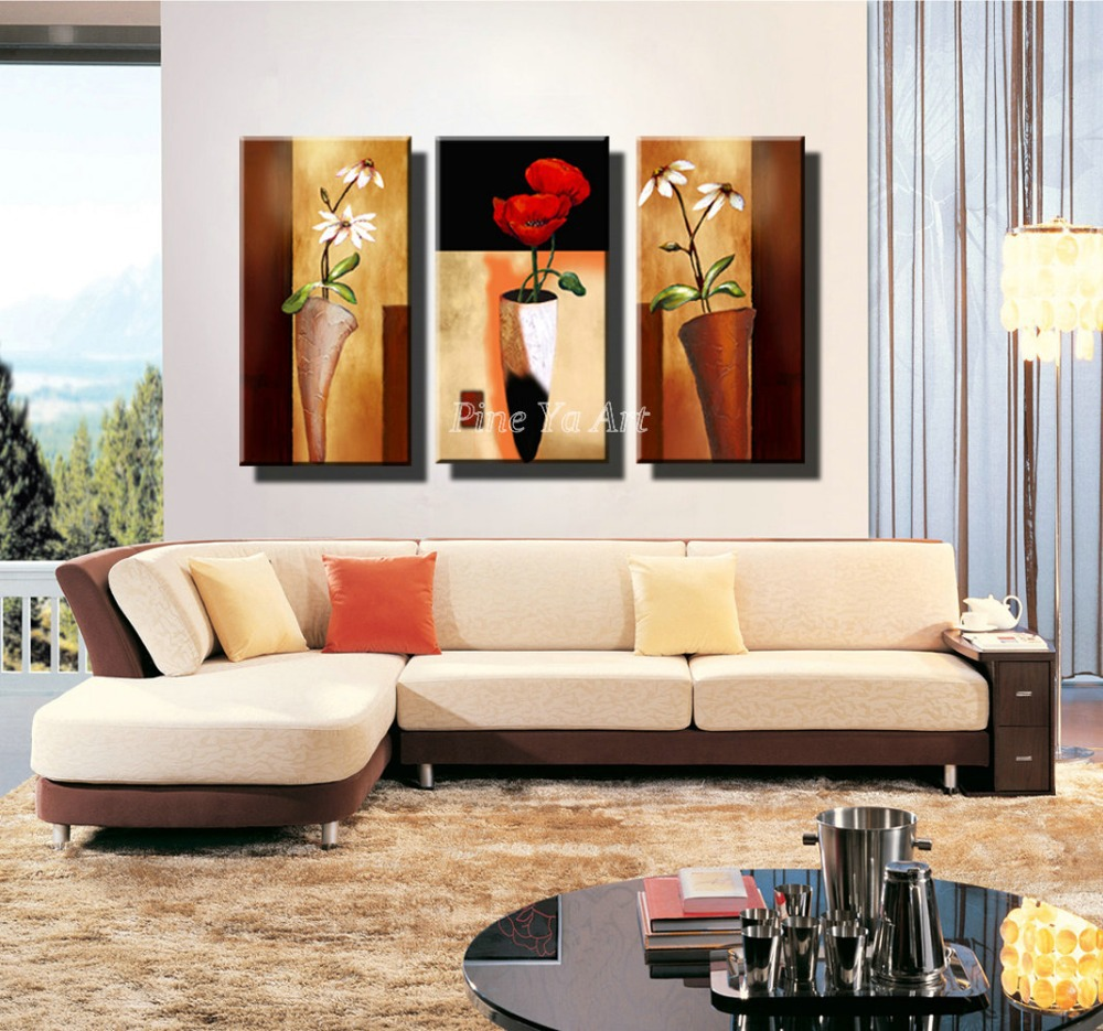 3 panel hd print cheap decorative flower abstract modern for Modern living room wall