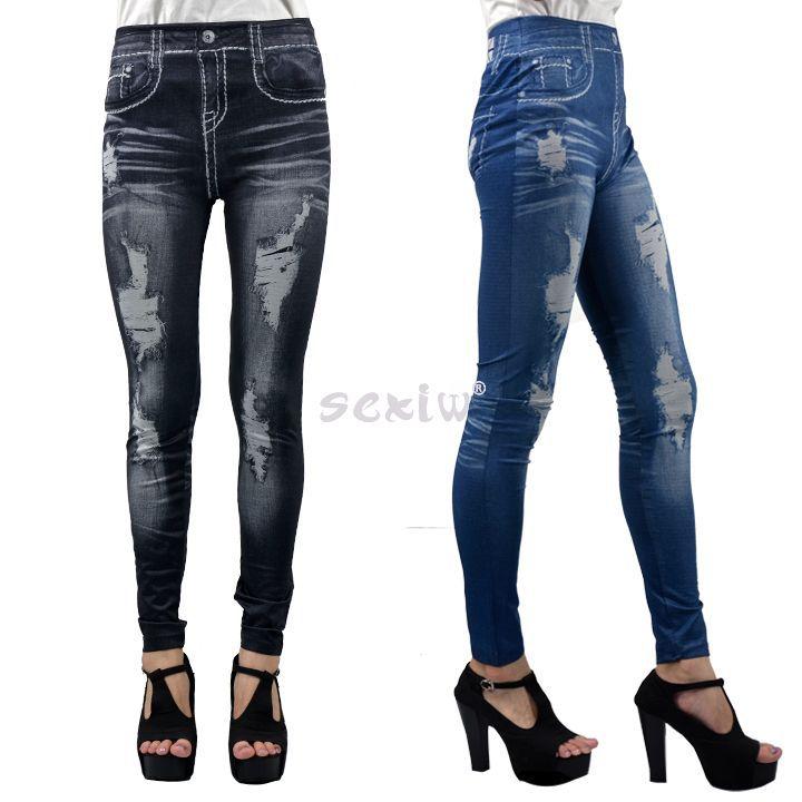 Women's Leggings Popular Denim Jeans Look Sexy Leggings ...