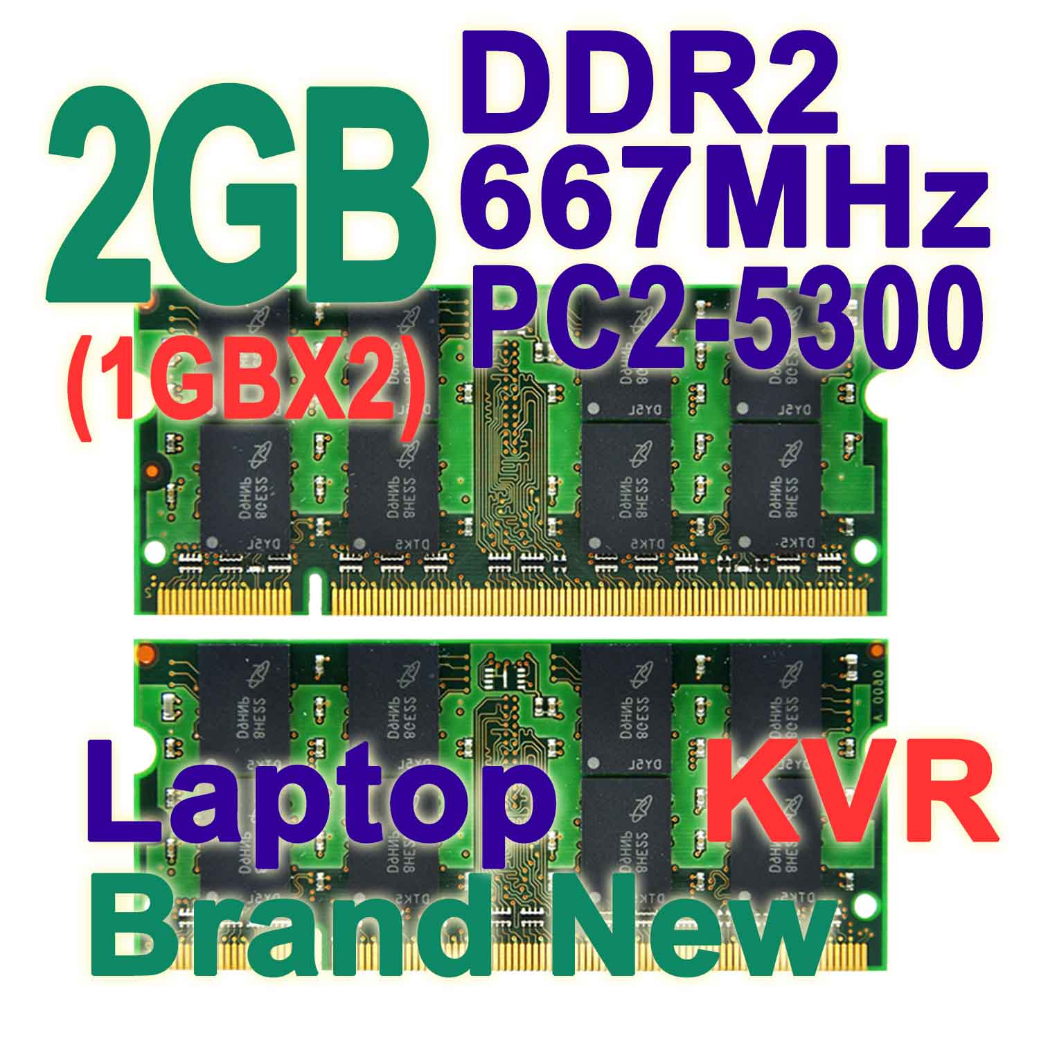 Memoria RAM DDR2 2GB 667 MHz Laptop Kit (1GBX2) Dual Channel 200-pin SODIMM PC2-5300 Non-ECC CL5 For Intel &amp; AMD Notebook KVR<br><br>Aliexpress