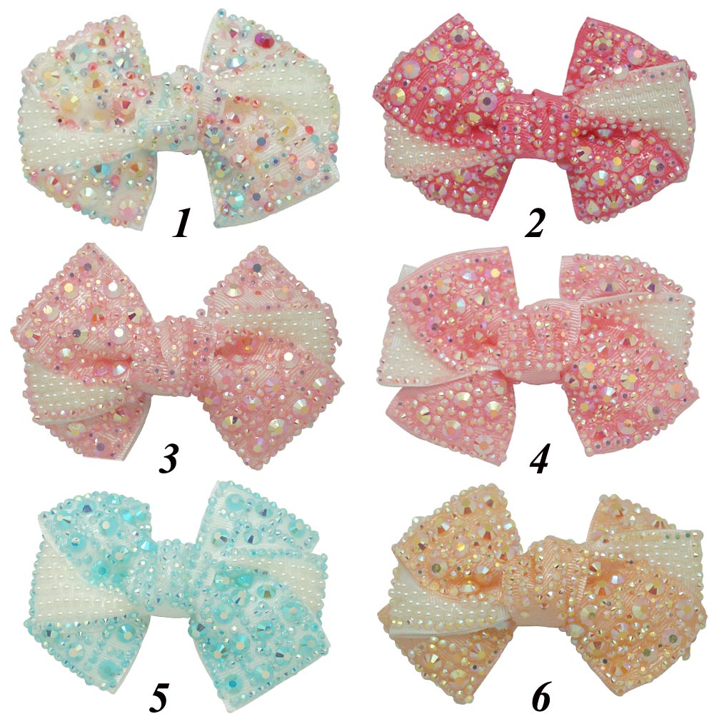 "12 Pcs/lot 4"" Solid Handmade Rhinestone Pinwheel Hair Bow For Kids Children Boutique Bling Ribbon Bow With Clip Hair Accessories(China (Mainland))"